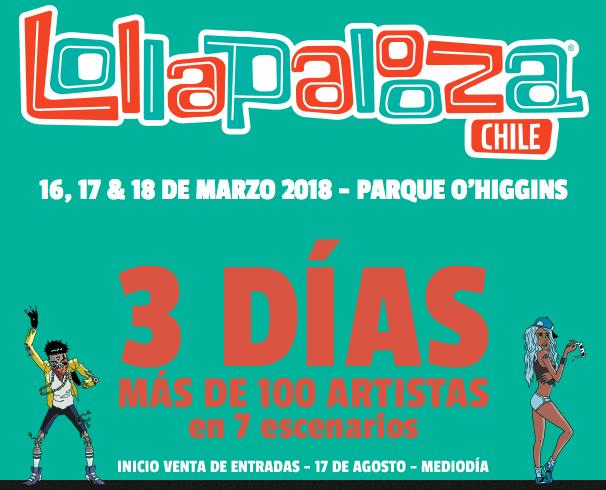 88580e9c8298 Estos serán los precios de Lollapalooza Chile 2018 ⋆ Cabellos y Hierbas