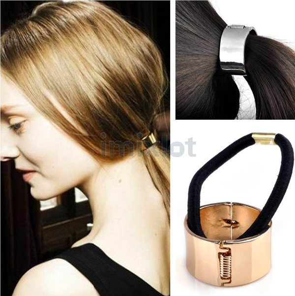 Free-Shipping-Silver-Gold-Plated-Hair-Accessories-Super-Smooth-Light-Elastic-Hair-Bands-Ponytail-Holder-12Pcs